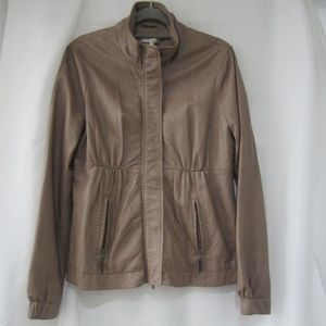 """Vince M Soft Leather Pleated Jacket Coat 40"""" Bust"""